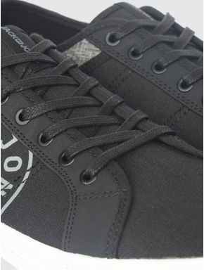 Black Canvas Print PU Sneakers