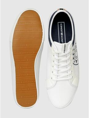 White Canvas Print PU Sneakers
