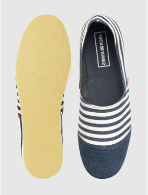 Blue Striped Slip On Espadrilles