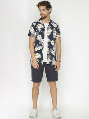 Blue All Over Print Short Sleeves Shirt