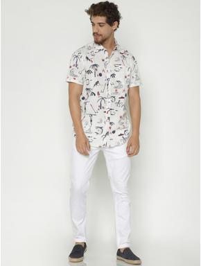 White All Over Print Short Sleeves Shirt
