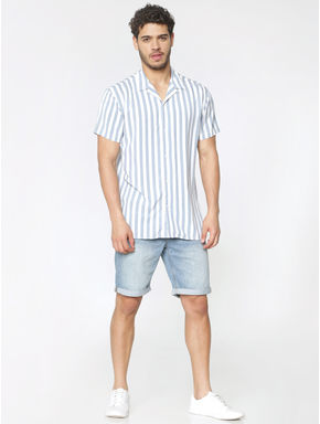 Blue and White Striped Short Sleeves Shirt