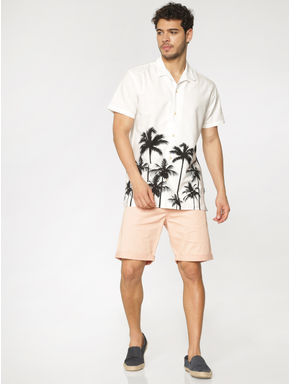 White Palm Tree Print Short Sleeves Shirt