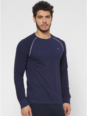 Blue Crew Neck Full Sleeves T-shirt