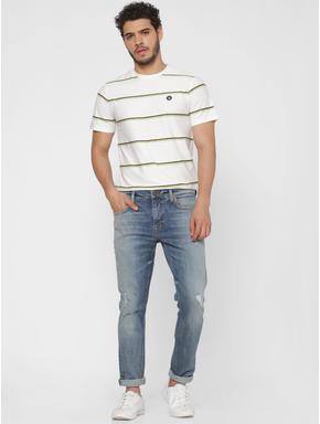 White Striped Crew Neck T-shirt