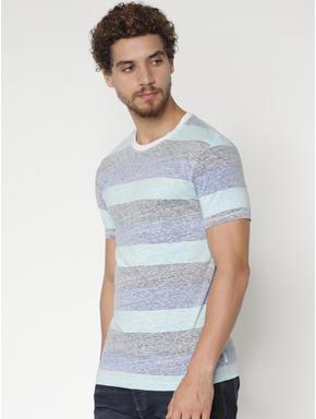 Blue Striped Colour Blocked Crew Neck T-shirt