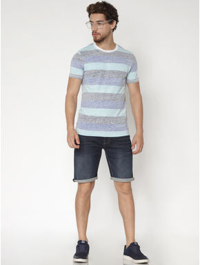 Blue Striped Colour Blocked Crew Neck T-shirt