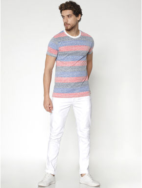 Grey Striped Colour Blocked Crew Neck T-shirt