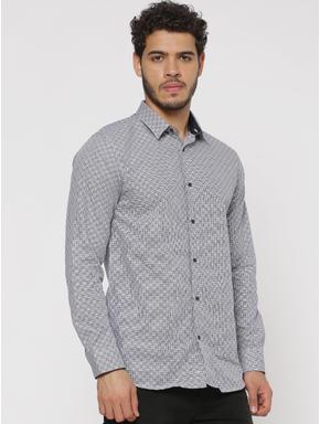 Grey Checks Slim Fit Full Sleeves Shirt