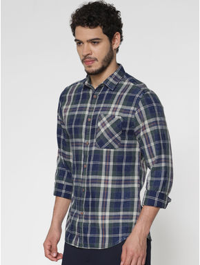 Green Multicoloured Checks Slim Fit Full Sleeves Shirt