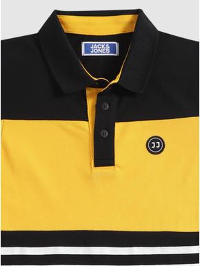 Junior Black Colour Blocked Polo Neck T-shirt