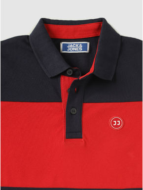 Junior Navy Blue Colour Blocked Polo Neck T-shirt