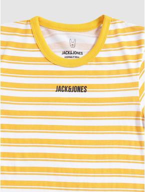 Junior Yellow and White Striped Crew Neck T-shirt