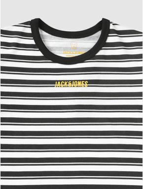 Junior Black and White Striped Crew Neck T-shirt