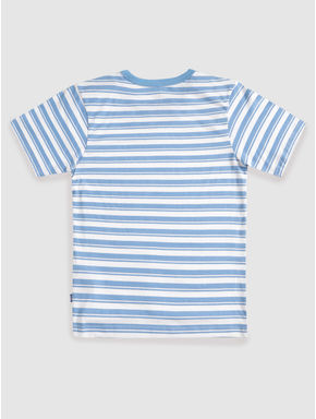 Junior Blue and White Striped Crew Neck T-shirt