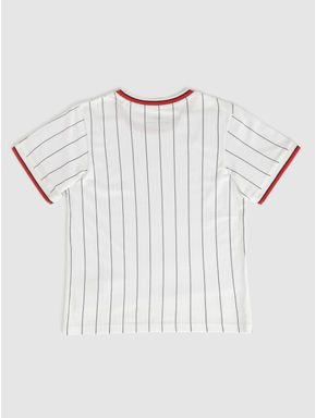 Junior White Striped Contrast Tipping Crew Neck T-shirt