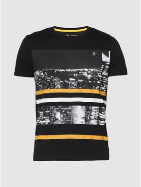 Black Graphic Print Slim Fit Crew Neck T-Shirt