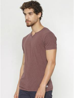 Maroon Faded Split Neck T-shirt