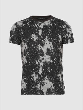 Black Abstract Print Slim Fit Crew Neck T-shirt