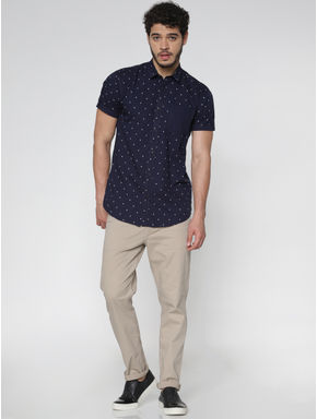 Blue All Over Printed Patch Pocket Short Sleeves Shirt