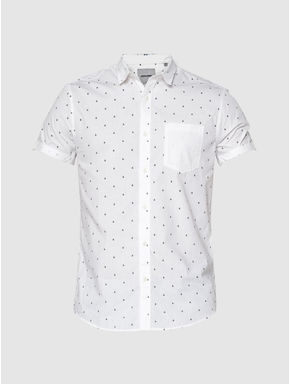 White All Over Printed Patch Pocket Short Sleeves Shirt