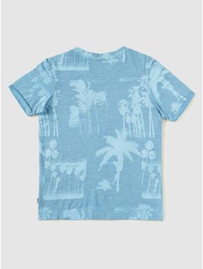 Junior Blue Tropical Print Slim Fit Crew Neck T-shirt