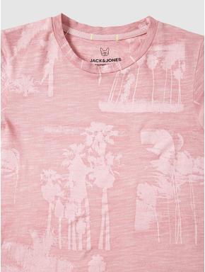 Junior Pink Tropical Print Slim Fit Crew Neck T-shirt