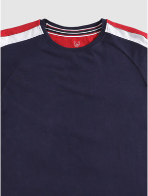 Junior Navy Blue Colour Blocked Sleeve and Text Print Crew Neck T-shirt