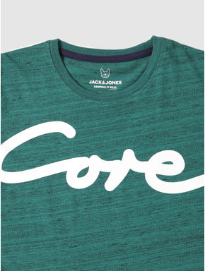 Junior Green Text Print Crew Neck T-shirt