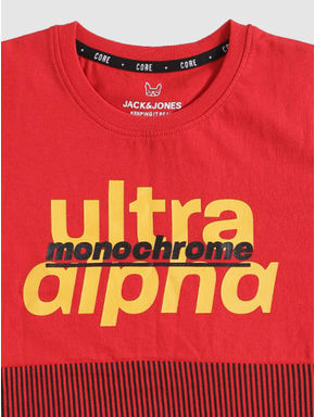Junior Red Print Blocked Crew Neck T-shirt