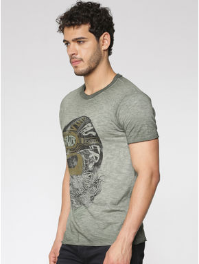 Green Graphic Print Washed Slim Fit Crew Neck T-shirt