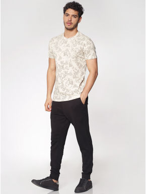 Cream Printed Crew Neck T-shirt