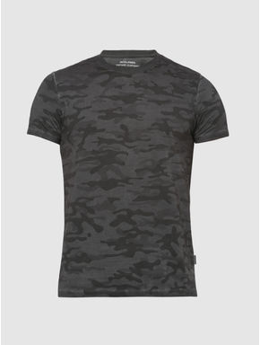 Grey Camo Print Crew Neck T-shirt