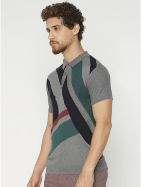 Grey Colour Blocked Polo Neck T-shirt