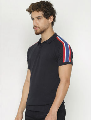 Navy Blue Polo Neck T-shirt
