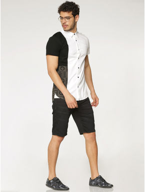 White Colour Blocked Slim Fit Short Sleeves Shirt