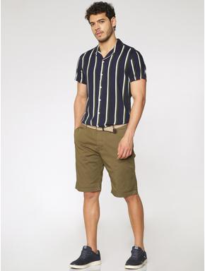 Navy Blue Striped Slim Fit Short Sleeves Shirt