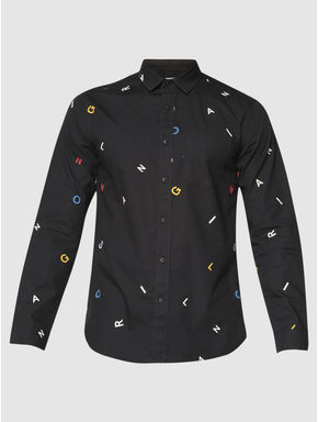 Black All Over Alphabet Print Slim Fit Full Sleeves Shirt