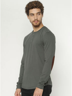 Green Back Graphic Print Henley T-shirt