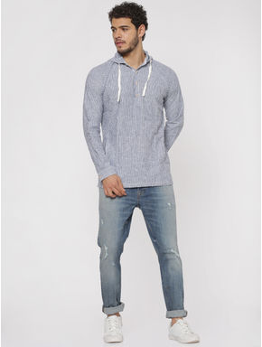 Blue Striped Hooded Slim Fit Full Sleeves Shirt