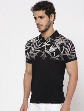 Black Printed Polo Neck T-shirt