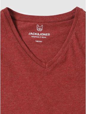 Junior Red Slim Fit V Neck T-shirt