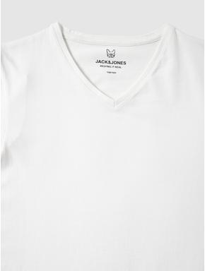 Junior White Slim Fit V Neck T-shirt