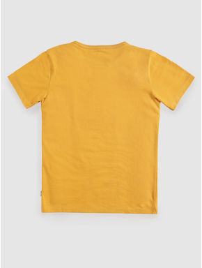 Junior Yellow Text and Patch Print Crew Neck T-shirt