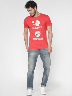 X Popeye Red Graphic and Text Print Slim Fit Crew Neck T-Shirt