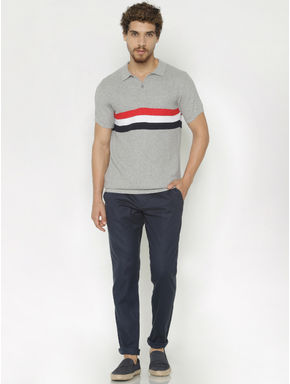 Grey Striped Print Polo Neck T-shirt