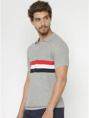 Grey Striped Print Polo Neck T-shirt