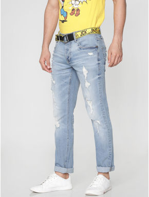 Light Blue Ripped Tim Slim Fit Jeans
