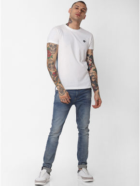 White Tape Detail Crew Neck T-shirt