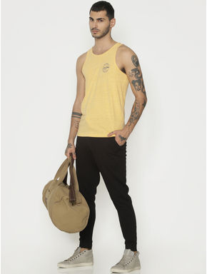 Yellow Logo Text Print Vest